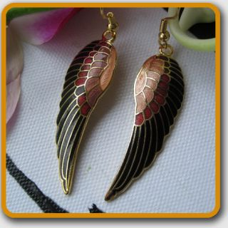 Gold Plated Cloisonne Enamel Black Angel Wing Dangle Earrings