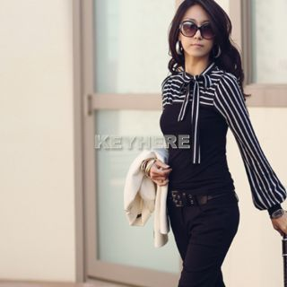 Neck Stripes Long Puff Sleeve Cotton Tops Blouses T Shirt K0E1