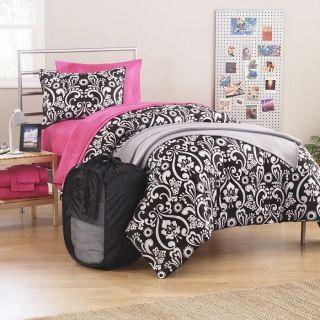 Parisian Hot Pink Black White 15pc Dorm Kit Full Size Comforter Set