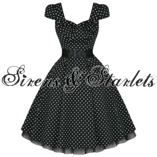 Ladies Womens New Black White Polka Dot 50s Rockabilly Swing Party