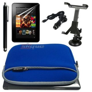 Blue Sleeve Case Bag Cover Car Charger Mount Stylus Film for Kindle
