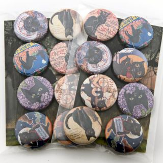 Black Cat Vintage Art & Advertisements badges Set of 8 buttons pinback