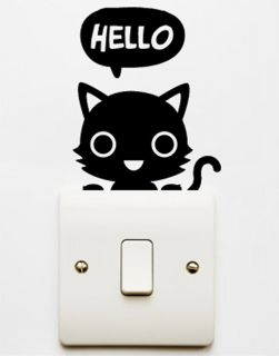 Black Cat Light Switch Wall Art Netbook Vinyl Stickers