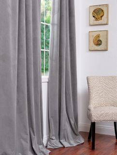 Silver Grey Pole Pocket Velvet Blackout Curtains Drapes