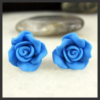 Lovely Blue Rose Flower Soft Ceramic Clay Stud Earrings
