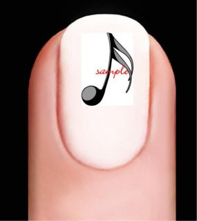 music note black art nail decals 20