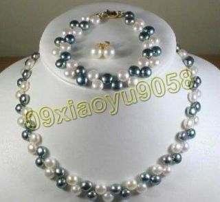 Beautiful black and white pearl necklace bracelet earrings set