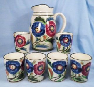 Red & Blue Flowers Juice Set Pottery Pitcher 5 Tumblers Hand Painted