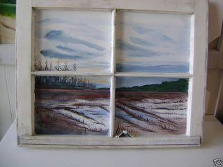 Original Acrylic Painting After The Rain Onantique Window Frame