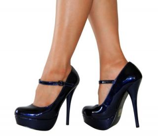Chic Sexy Patent Mary Jane Platform Heel Pump Must Have Dark Blue All