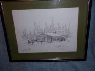 Bob Edgar Signed Print Framed Log Cabin Dated 1979
