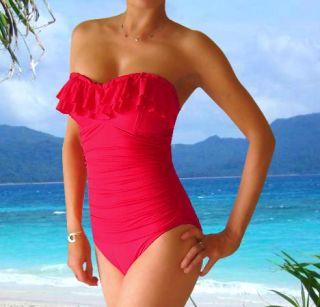 Bust Boost Lift One Piece Ruffled Swimsuit Swimwear Bathing Suit Swim