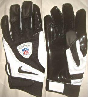 MENS L Black/ White New Nike NFL Player Issue Football Gloves
