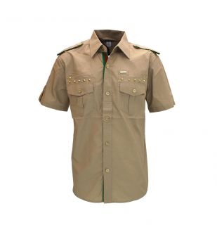 New Mens Ablanche Military Shirt Button Up Khaki Size M