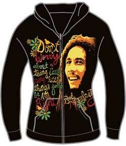 Bob Marley 3 Little Birds Jr Hoodie sweat Shirt Large