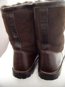 ugg mens brown leather shearling lined boots 13