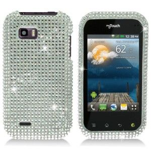 LG myTouch Q Crystal Diamond BLING Hard Case Phone Cover, Silver