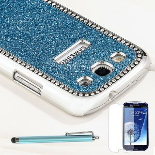 Blue Bling Rhinestone Diamond Hard Case Cover For Samsung Galaxy S3