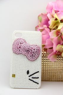 3D Swarovski Crystal Bling Case for iPhone 4 4S Pearl Hello Kitty