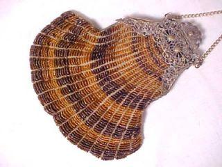 Vintage Antique Brown Glass Beaded Purse 1920s Bead Handbag