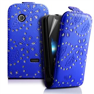 DeepBlue DIAMOND BLING FLIP LEATHER CASE COVER for Sony ST21i Xperia