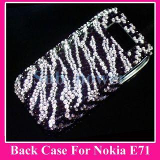 Black Zebras Bling Back Hard Case Cover for Nokia E71