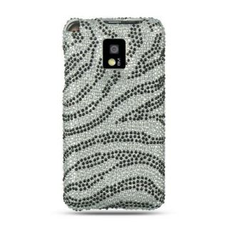 Zebra Diamond Rhinestone Bling Cover for T Mobile LG G2X Case Silver