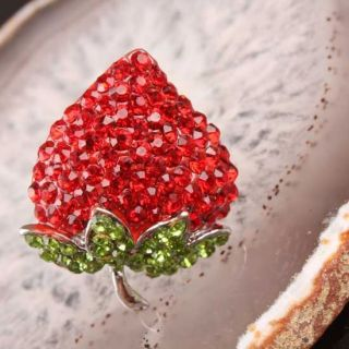 Bling Strawberry Rhinestone Beads Adjustable Ring 1pc