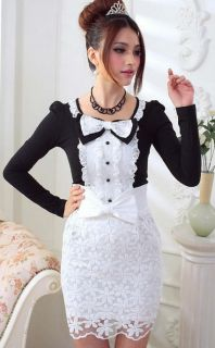 Two Tone Bowknot Flounce Lace Long Sleeve T Shirt Blouse Top