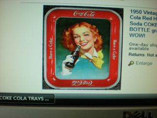 1950 Vintage Coca Cola Red Hair Soda Coke Tray wth Bottle Graphic