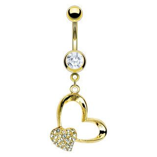 Heart Gem Gold Belly Navel Rings Body Piercing Jewelry