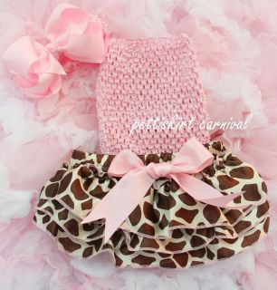 Newborn Baby Giraffe Satin Bloomers Light Pink Tube Top Bow Headband