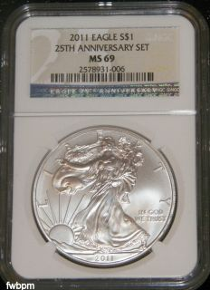 25th Anniversary Set American Silver Eagle MS69 NGC Blue Label