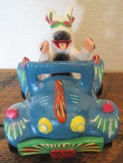 Ortega Mexican Folk Art White Dog in Aqua Racing Car