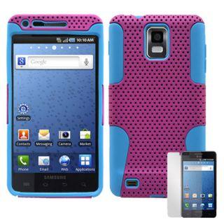 Samsung Infuse 4G i997 Purple Blue Hybrid Hard Case Cover + Screen