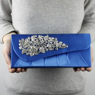BLUE RHINESTONE JEWELED FLOWER BOX CLUTCH EVENING BAG HBG074