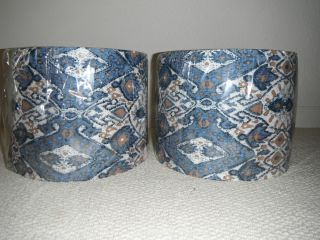 New Pair of J Hunt Drum Lamp Shades Blue Brown Beige White Fabric