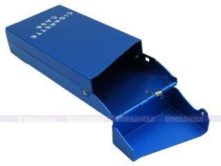 Blue Aluminum 20pcs Slim Cigarette Case Holder