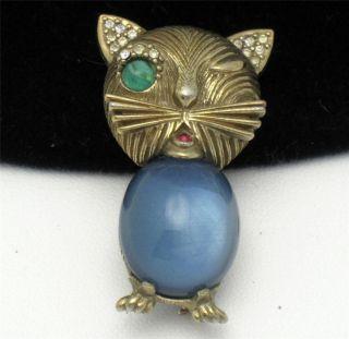 Signed CINER Winking Cat Brooch Pin Blue Glass Cabochon Rhinestone