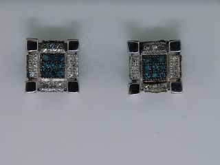 Mens White Gold 50ct Block Blue Diamond Stud Earrings