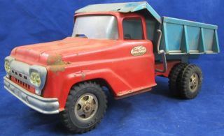 TOY 1960 TONKA Mound Minnesota DUMP TRUCK Pressed Steel Blue Red Toy