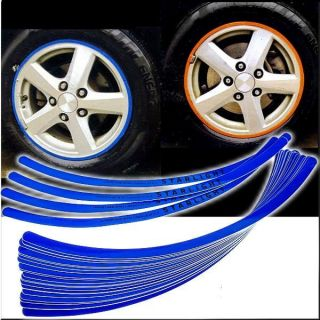 Round Wheels Rims Decorative Decals Sticker Blue Trim