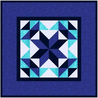 Sapphire Blue Star Wall Hanging Quilt Kit Marbles