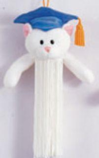Graduation Tassel White Kitty Cat Blue Cap Gold Tassel