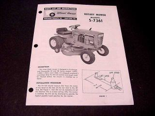 Wheel Horse Tractor Mower Parts List Instructions 5 7361 from 1969