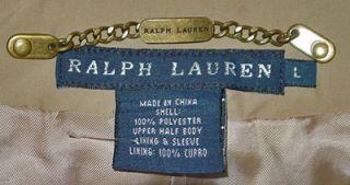 Ralph Lauren Ladies Blue Label Tan Light Weight Rain Coat Size Large