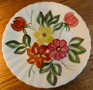 Blue Ridge Southern Potteries Plate Flowers Hand Painted Underglaze