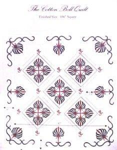 Cotton Boll Applique Quilt Pattern 1800s 106 Square