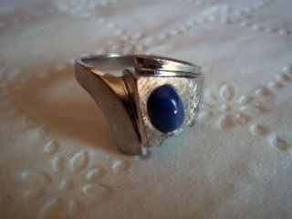 Mens 14k White Gold Ring with Blue Star Sapphire