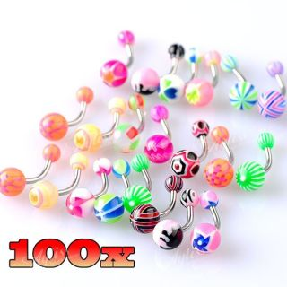 Mix UV Bars Ball Belly Navel Ring Body Jewelry Piercing Steel